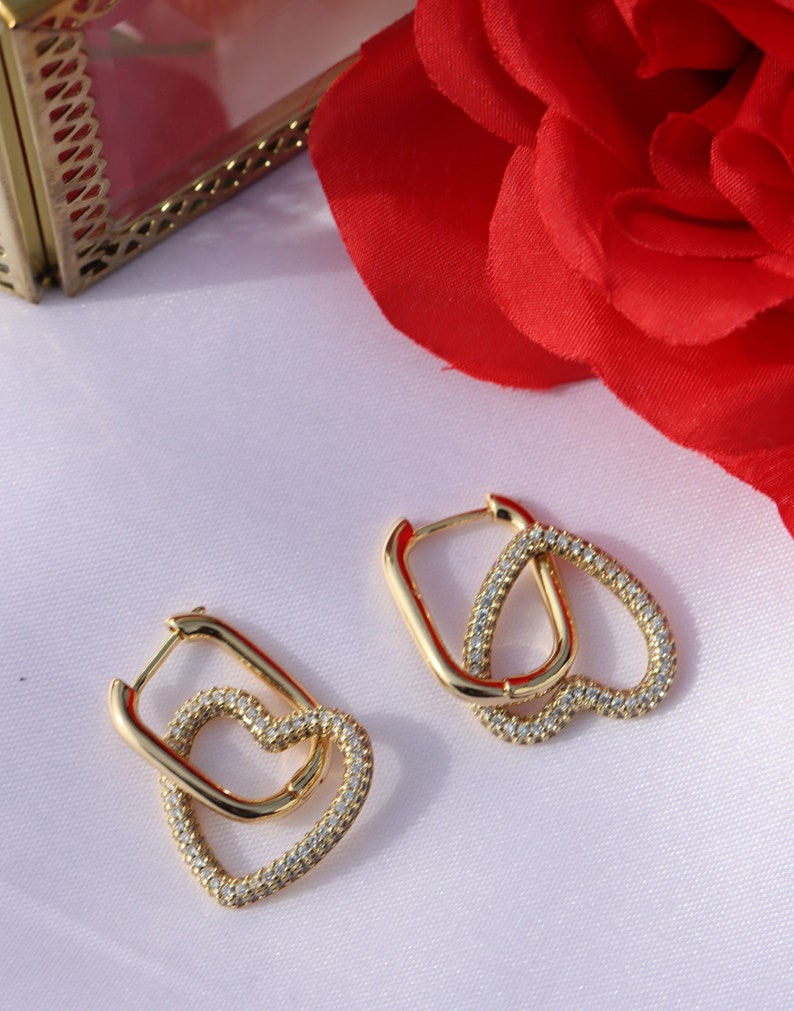 Valentines Day Golden Studded Heart 18k gold plated earrings