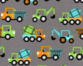 Blue and Green Construction Trucks, FLANNEL fabric by the yard