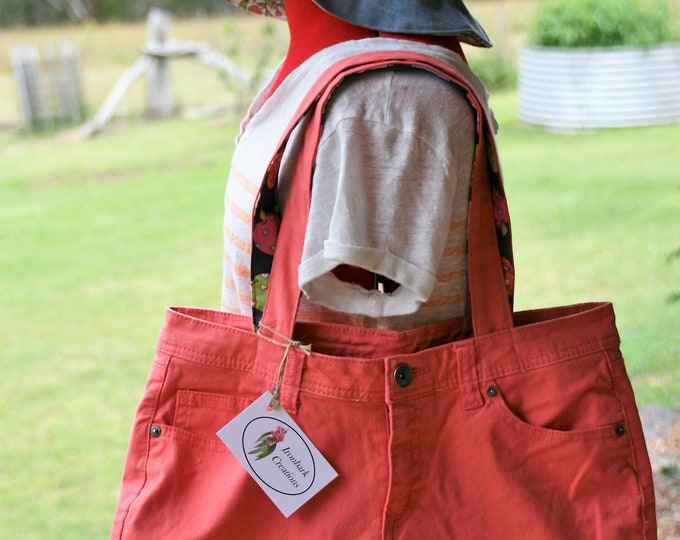Coral Denim Tote Bag, Shoulder Bag, Eco Friendly Bag, Shopping Bag, Weekend Bag, Plastic-Free Bag, Denim Bag
