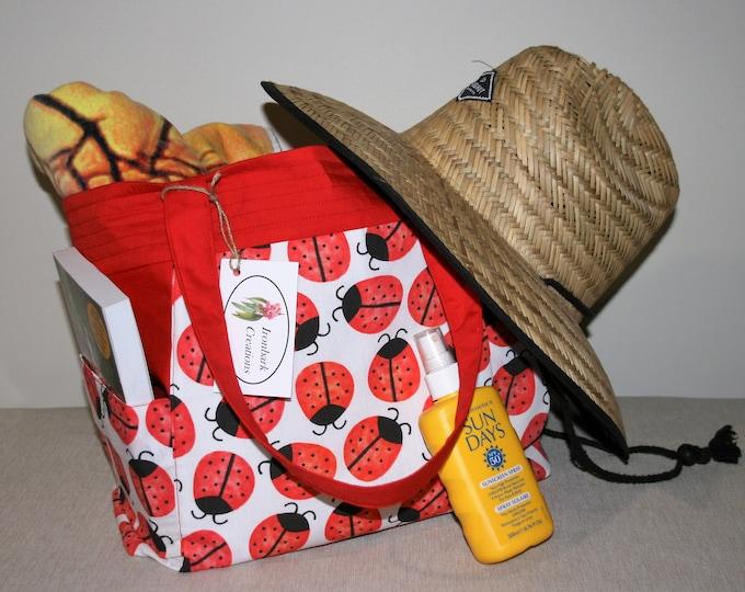 Ladybird Cotton Tote Bag, Shoulder Bag, Eco Friendly Bag, Shopping Bag, Weekend Bag, Plastic-Free Bag