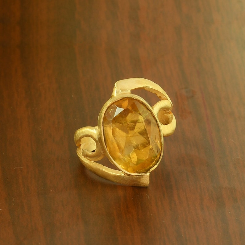 Proposal Ring Wedding Ring Semi Precious Ring Birthstone Ring Natural Citrine Ring Brass Stackable Ring Gold Plated Ring
