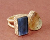 Blue Kyanite Ring, Handcrafted Ring, Unique Style Ring, Natural Citrine Ring, 18K Gold Vermeil Ring, Gemstone Ring, Dual Stacking Ring