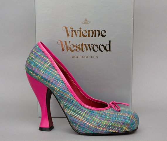 Vivienne Westwood Womens Pink and Green Tartan Sho