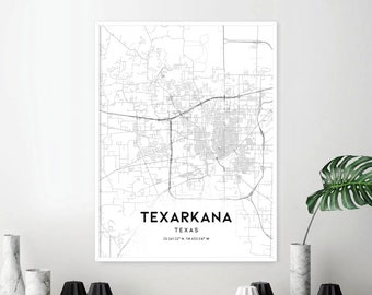 Texarkana map | Etsy