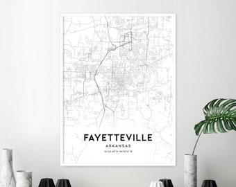 Fayetteville ar map | Etsy