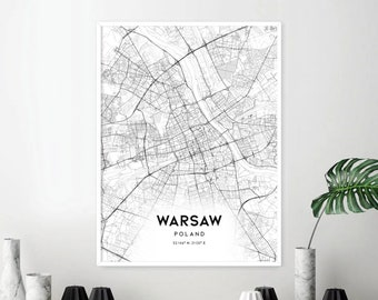 fce9267c10f1 Warsaw Map Print, Warsaw Map Poster Wall Art, Warsaw Poland City Map,  Warsaw Print Street Map Decor, Road Map Gift, A174v4