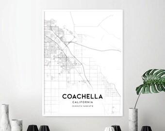 Coachella Map Print, Coachella Map Poster Wall Art, Ca United States City Map, California Print Street Map Decor, Road Map Gift, A1490v4