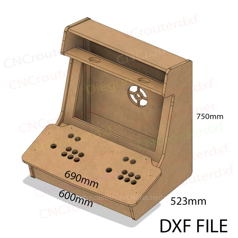 Arcade Bartop Machine Evo Cabinet cnc router dxf plans | Etsy