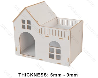 Pet House, Walks to cat and dog, CNC dxf plans, Vetor, Cnc File