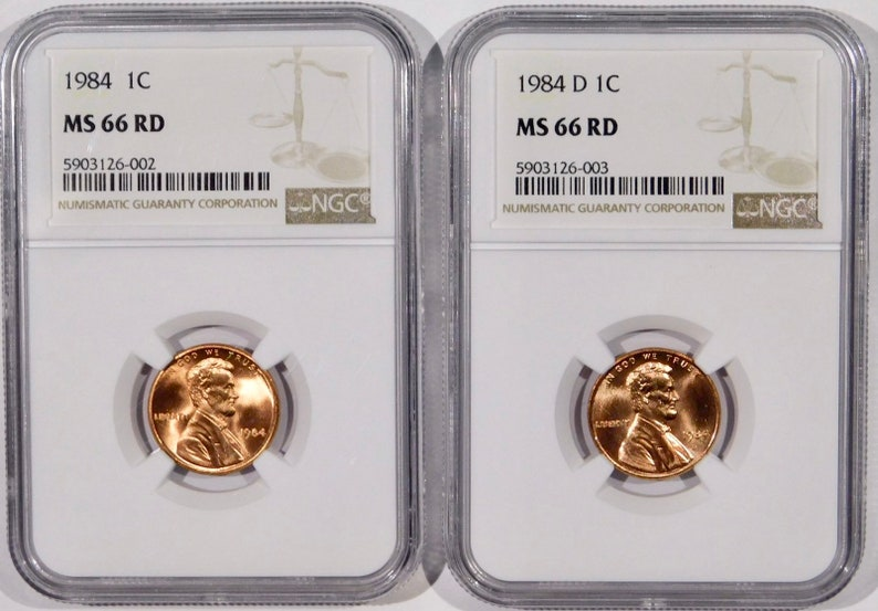 1984 P/&D Lincoln Cent NGC MS-66 RED 2coins