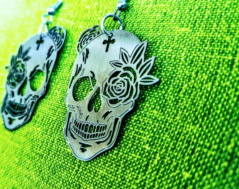 Sugar Skull drop earrings Flower calavera charm accessory Womenunisex Mexican style metal jewelry Ready for gift Stainless steel laser cut
