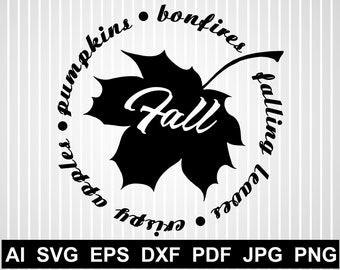 Fall Leaves Svg Bundle Leaf Monogram Svg Cuts For Cricut Maple Etsy