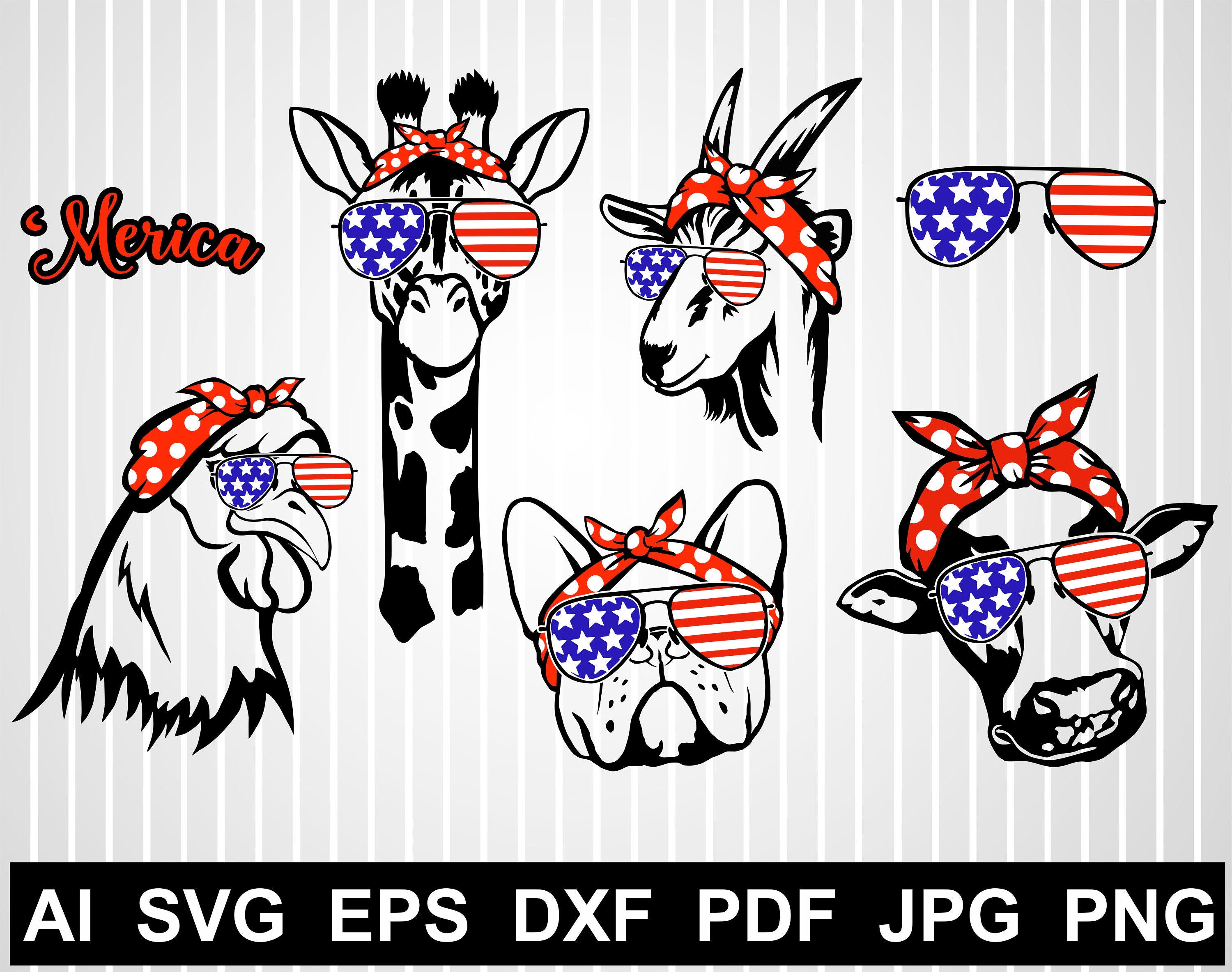 Merica Giraffe Svg Cuts File For Cricut Goat Face Svg Hen Etsy