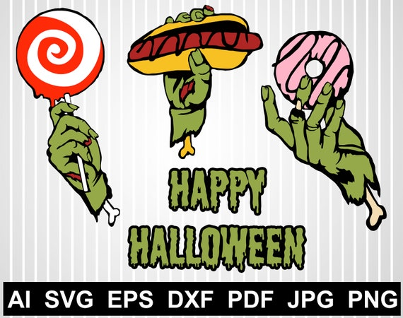 Zombie Svg Free Happy Halloween Svg Files For Cricut Zombie Etsy