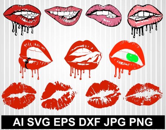 Sexy Lips Svg Biting Lips Svg Dripping Lips Clip Art Lips Etsy