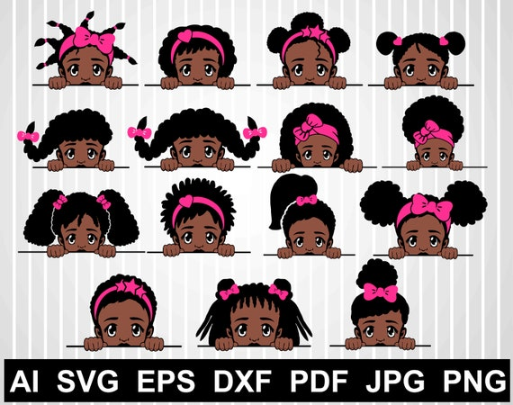 Peek A Boo Svg Bundle Black Girl Vector African American Svg Etsy