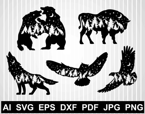 Bear Svg Mountains Hunting Svg Files For Cricut Owl Silhouette Etsy