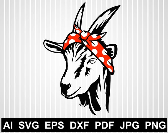 Goat With Bandana Svg Free Cuts For Cricut Goat Vector Design Etsy