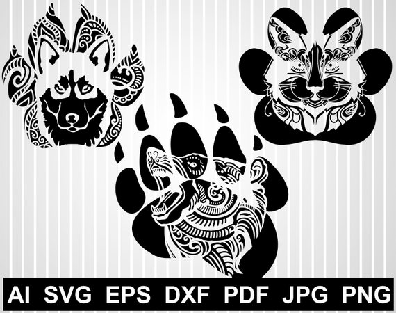 Dog Paw Print Svg Files For Cricut Cat Paw Print Bear Paw Etsy
