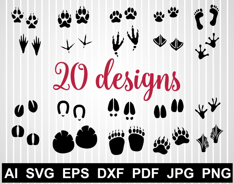 Paw Print Svg Cuts File For Cricut Animal Tracks Svg Design Etsy