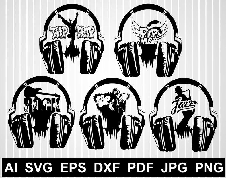 Headphones svg Earphones svg Headphones vector clipart silhouette Hip hop svg Music svg Music notes svg Music vector design png dxf