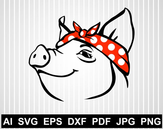 Pig Bandana Svg Cuts File For Cricut Pig With Bandana Svg Free Etsy