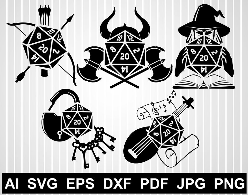 D20 svg cuts file for cricut RPG vector design Geek svg free Dice  silhouette Dungeon master svg Role playing game Dice clipart Gamer iron on