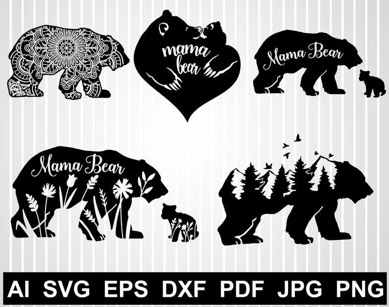 Floral bear svg cuts Mama bear silhouette Animal Zentangle vector design Mandala family bear file for cricut Mountain range Png Clipart free