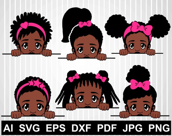 Peek A Boo Svg Bundle Afro Girl Vector African American Svg Etsy