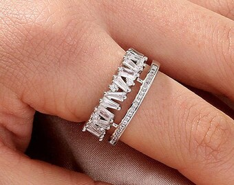 3mm Full Eternity Double Row Round Simulated Amethyst Simulated Diamond Solid 925 Sterling Silver Wedding Band Eternity