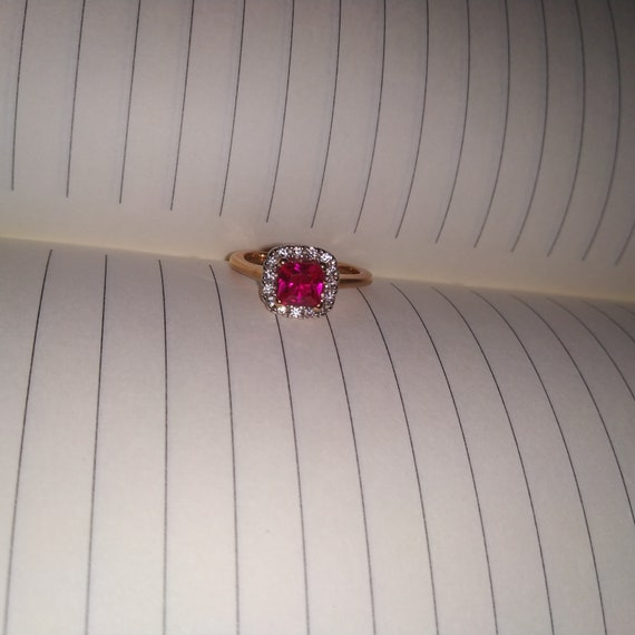 1.50ct Genuine Ruby Diamond Ring Vintage Style in Sterling Silver