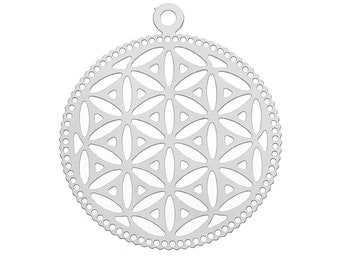 B100g 5 Silver Tone 304 Stainless Steel Flower Of Life Charms  32x28mm