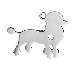 1 Engravable Silver Tone 304 Stainless Steel GoldenLab Cut Out PendantCharms 30x24mm 103x
