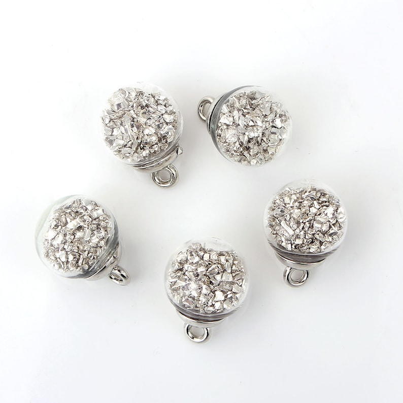 B17M 5 Glass /& Silver Plated Round Bulb Bottle Pendant Charms w Silver Nuggets 22 x 16mm