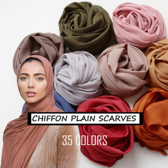 Ladies Plain Bubble Chiffon Muslim Large Scarf Hijab Shawl Sarong Wraps