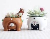 Cute Little Upside Down Animals Resin Flower Pot Resin Planter Decorative Flower Pot Designer Resin Planter Resin Pot
