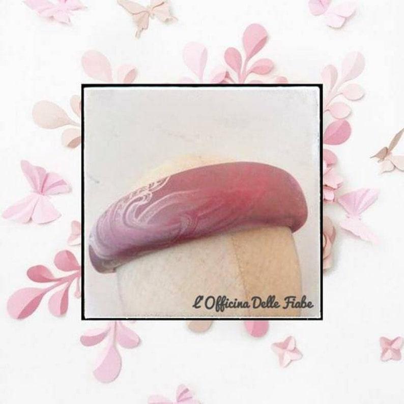Matador Maxi silk hair hoop with silver lace print and pink shades Silk padded headband maxi Headband Coroncina wide