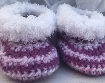 f7c70b7d72a Purple Zebra Baby Booties