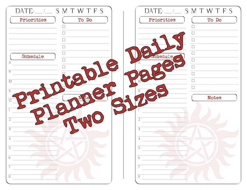 image relating to Free Printable 5.5x8.5 Planner Pages referred to as Supernatural Planner Web pages - Every day Planner - Printable - Electronic Obtain - 50 % Web site - 5.5 x 8.5 - Finish Web site - 8.5 x 11 - Working day upon A single Web page
