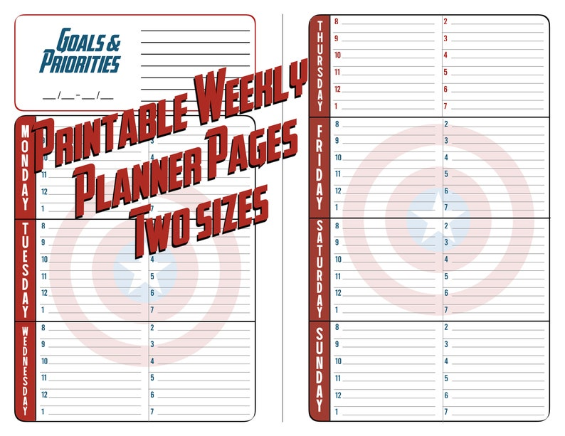picture about Free Printable 5.5x8.5 Planner Pages titled Surprise Avengers Planner Webpages - Weekly Planner - Printable - Electronic Down load - 50 % Site - 5.5x8.5 - Complete Web site - 8.5x11 - 7 days upon 2 Web page