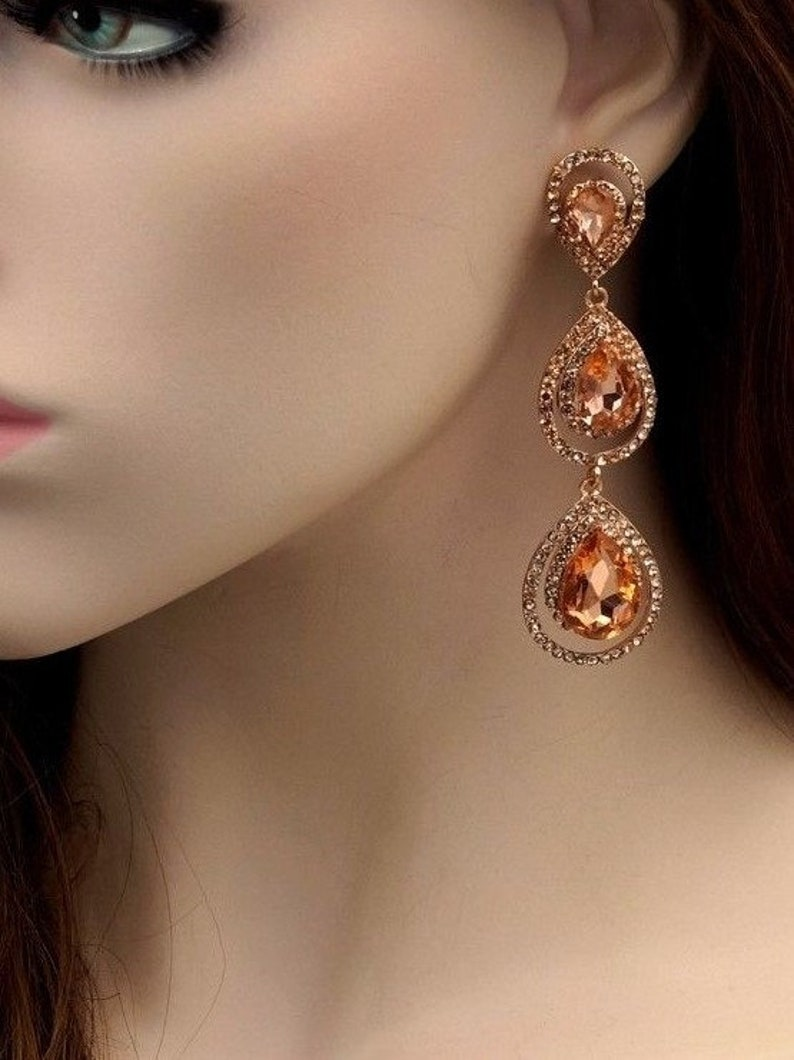 759a2edc7a Free shipping Rose Gold Plated Peach Crystal Rhinestone, Prom Earrings,  Chandelier Earrings, Dangle Drop Earrings, Gift for women, Wedding