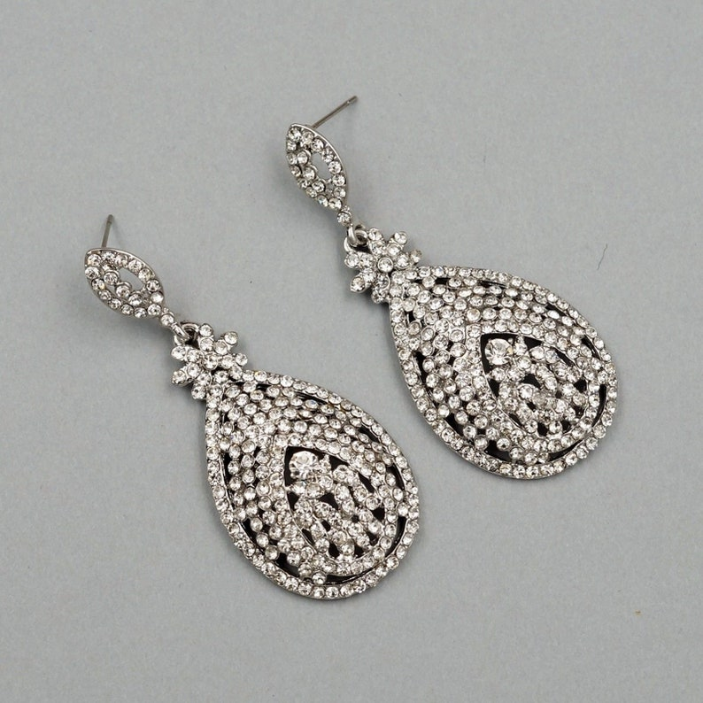 c879861fbe Free shipping Rhodium Plated Clear Crystal Rhinestone, Prom, Earrings,  Chandelier Earrings, Dangle Drop Earrings, Gift for women, Wedding