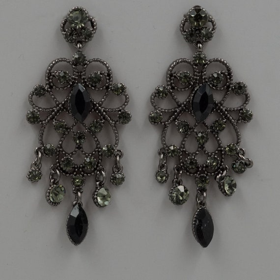 Free shipping Alloy Black Crystal Rhinestone, Prom Earrings, Chandelier Earrings, Dangle Drop Earrings, Gift for women, Wedding