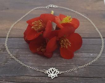 925 sterling silver lotus flower choker or necklace / lotus necklace / lotus choker / silver choker / small lotus flower / silver lotus