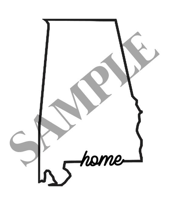 Digital File Alabama State Outline Home Design Etsy