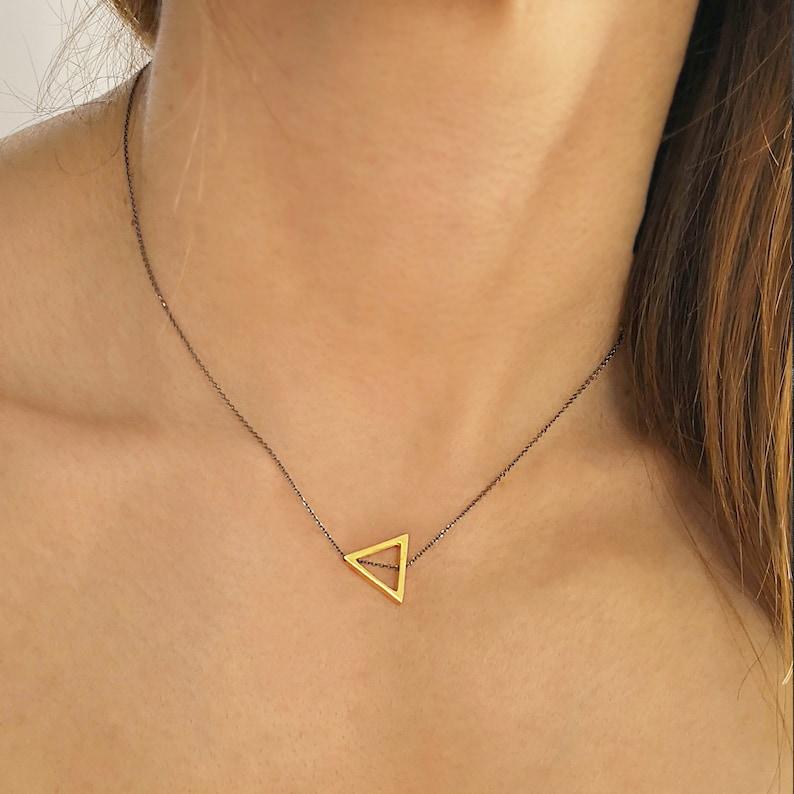 minimal  Jewelry minimal necklace layering necklace Geometric Triangle Necklace minimalist necklace