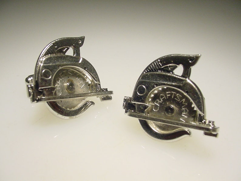 Rare Vintage Silver Tone Craftsman Hand Tool Moveable Miniature Circular Saw Cuff Links by Anson