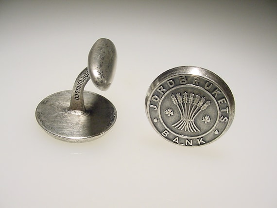 Vintage Silver Tone Sporrong Jordbrukets Bank of Agriculture Cuff Links