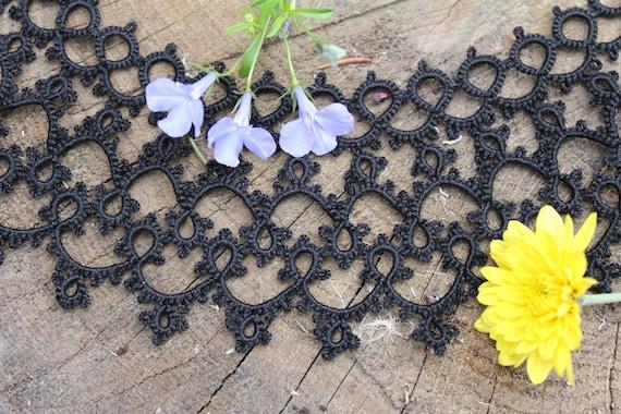 Vintage Black lace tatting collar Detachable lace… - image 5