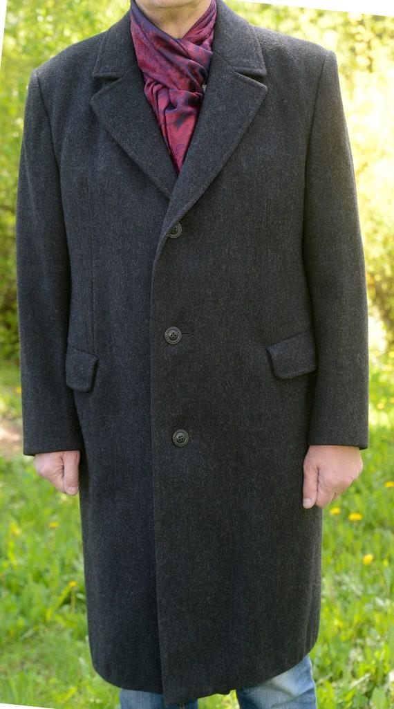 Mens Vintage pure  wool Overcoat Long Coat Black W